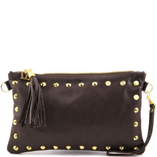 TL Rockbag Pochette in pelle con borchie Testa di Moro TL141114