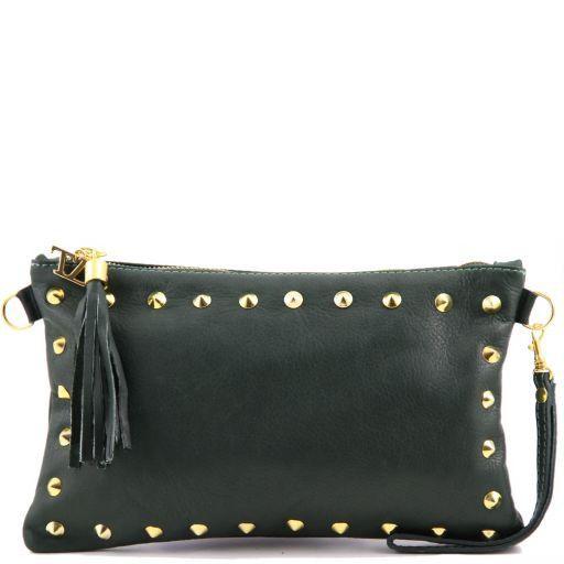 TL Rockbag Pochette in pelle con borchie Verde scuro TL141114