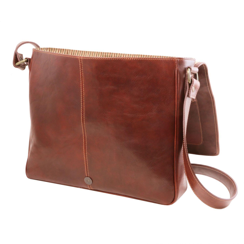 9942a405f4 Tuscany Leather TL Messenger Sac bandoulière en cuir pour ordinateur 2  compartiments - TL141650 (Marron