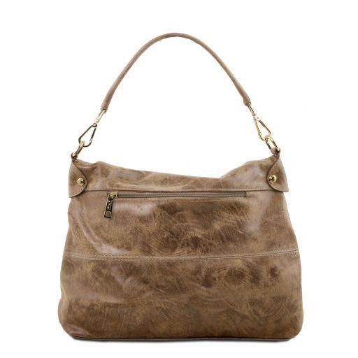 TL Bag Handtasche aus Leder im Antikeffekt Dunkel Taupe TL141637