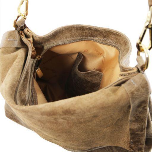 TL Bag Bolso a mano en piel efecto antiguo Marrón topo oscuro TL141637