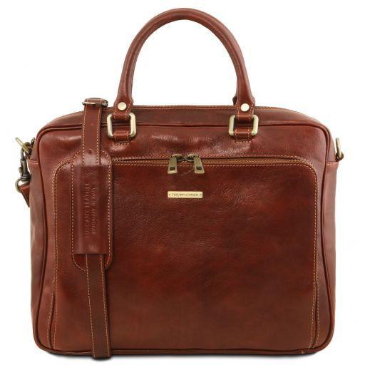 Pisa Кожаный портфель для ноутбука с передним карманом Коричневый TL141660