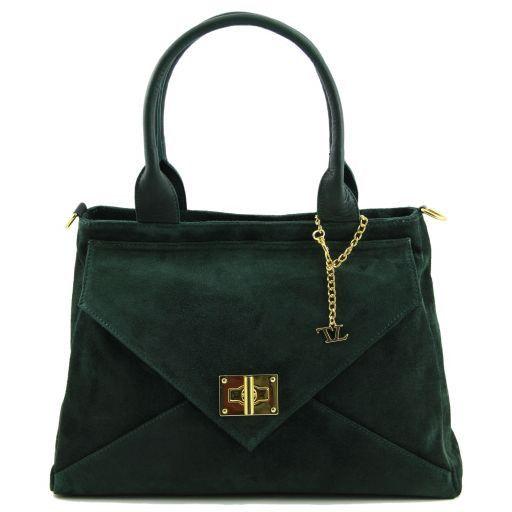 TL Classy Lady suede leather bag Dark Green TL141118