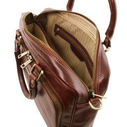 Pisa Cartella in pelle porta notebook con tasca frontale Marrone TL141660