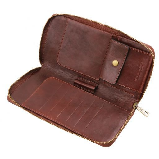 Exclusive leather travel document case Brown TL141663