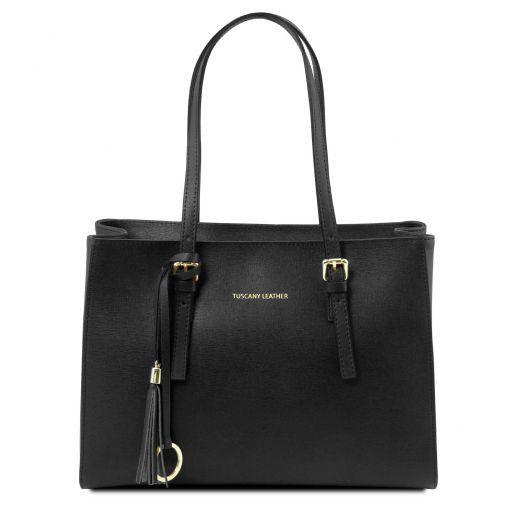 TL Bag Schultertasche aus Saffiano Leder Schwarz TL141518