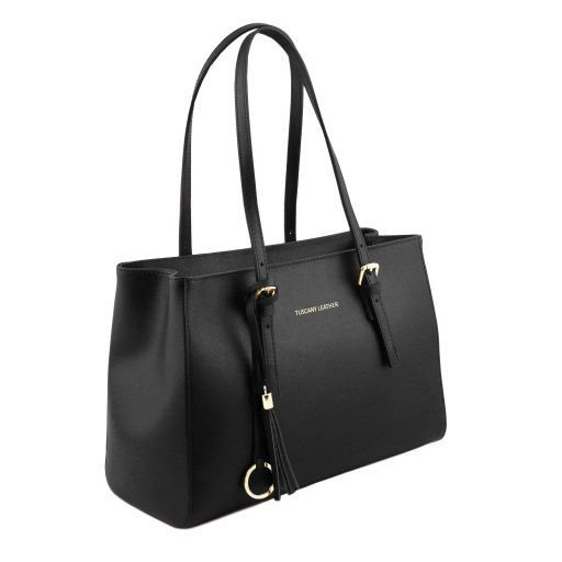 TL Bag Saffiano leather handbag Black TL141518