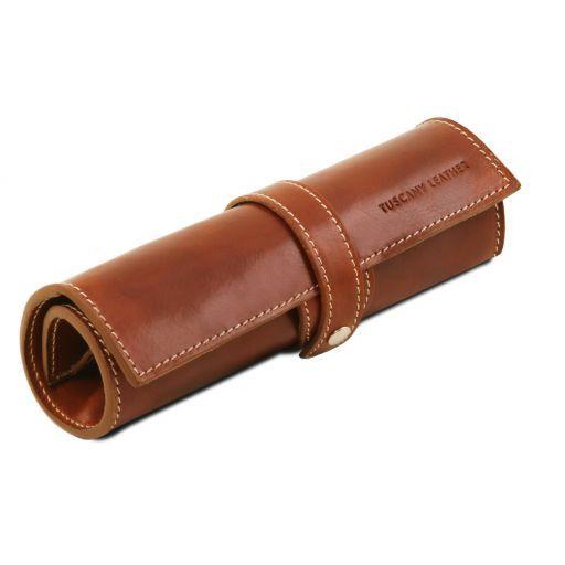 Esclusivo porta penne in pelle Miele TL141620