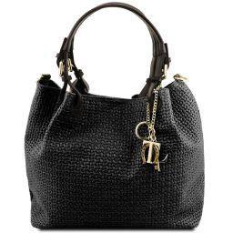 TL KeyLuck Bolso shopping en piel imprimida tejida Negro TL141573