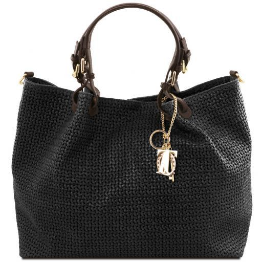 TL KeyLuck Woven printed leather TL SMART shopping bag - Large size Black TL141568