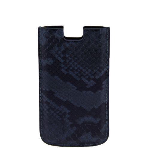 Sacoche pour iPhone SE/5s/5 en cuir de python Bleu TL141130
