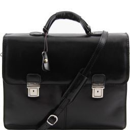 Bolgheri Leather briefcase 2 compartments Black TL141144