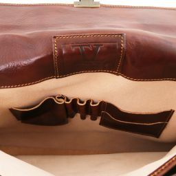 Parma Leather briefcase 2 compartments Black TL10018