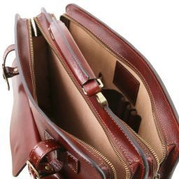 Venezia Porta folios en piel con 2 compartimentos y cierre de cremallera Rojo TL141268