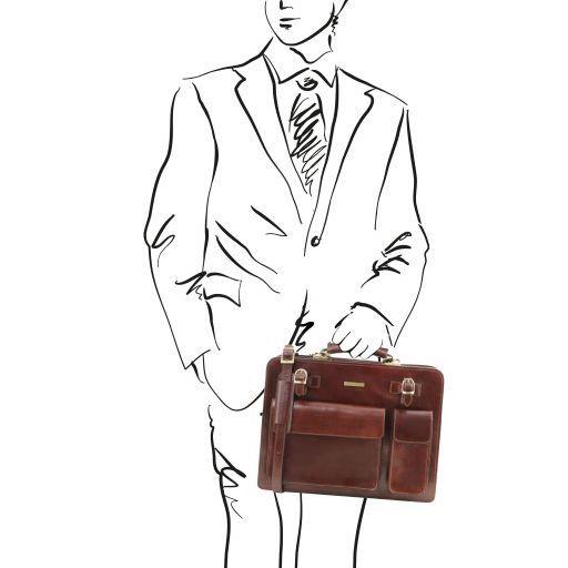 Venezia Leather briefcase 2 compartments Brown TL141268
