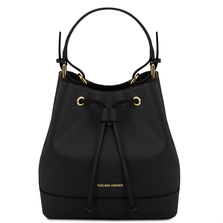 Minerva - Sac secchiello pour femme en cuir Saffiano - Noir Tuscany Leather UrKetw1FN
