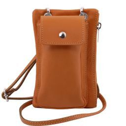 TL Bag Soft Leather cellphone holder mini cross bag Cognac TL141423