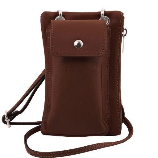 TL Bag Soft Leather cellphone holder mini cross bag Brown TL141423