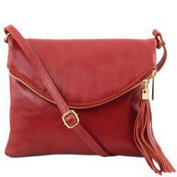 TL Young bag Schultertasche aus Leder mit Quasten Rot TL141153
