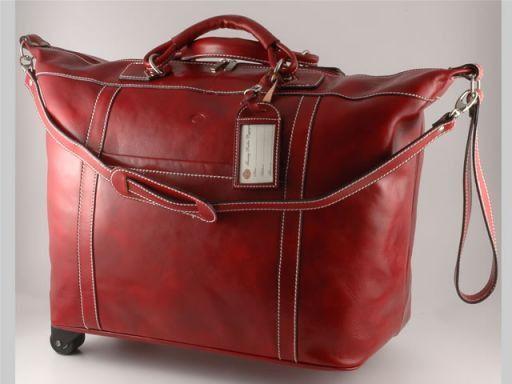 Mahè Borsa-Trolley in pelle Rosso TL10132