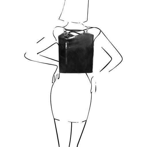 Patty Borsa donna in pelle convertibile a zaino Nero TL141497