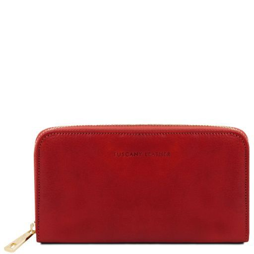 Exclusive leather accordion wallet with zip closure Red TL141206