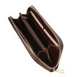 Esclusivo portafogli in pelle da donna con zip su 3 lati e soffietti Testa di Moro TL141206