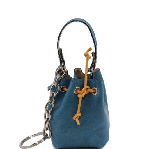 Esclusivo secchiello portachiavi in pelle Azzurro TL141156