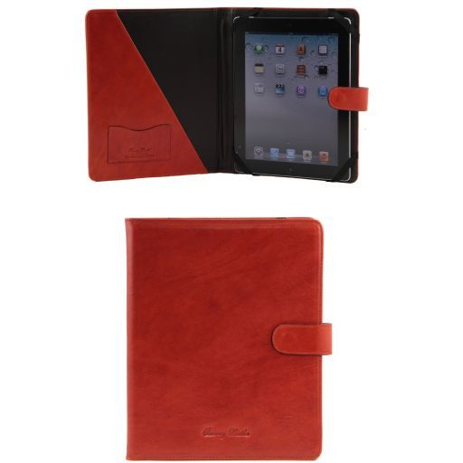 Leather iPad case with snap button Orange TL141170