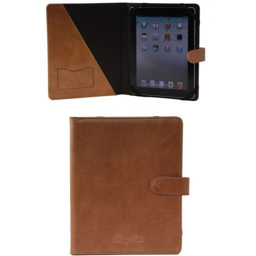 Leather iPad case with snap button Honey TL141170
