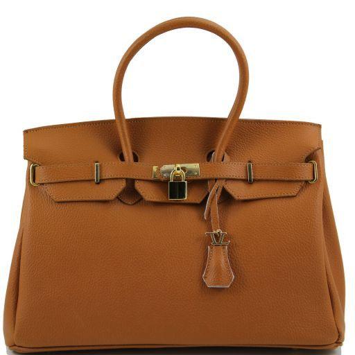 TL Bag Leather handbag with golden hardware Cognac TL141174