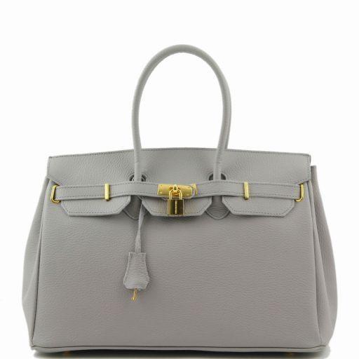 TL Bag Leather handbag with golden hardware Light grey TL141174