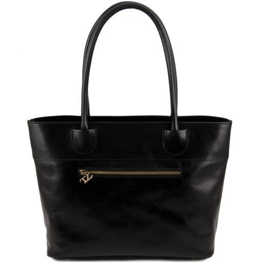 Elisa Borsa shopping in pelle Nero TL141176