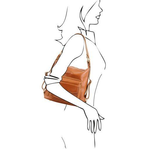 TL Bag Borsa donna in pelle convertibile a zaino Cognac TL141535