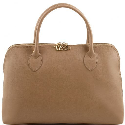 TL Bag Saffiano leather woman business bag Light Taupe TL141195