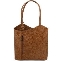 Patty Leather convertible bag with floral pattern Коньяк TL141676