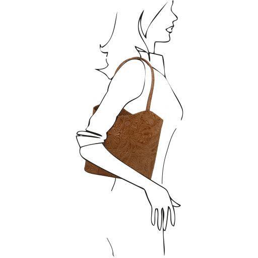 Patty Borsa donna convertibile a zaino in pelle stampa floreale Cognac TL141676