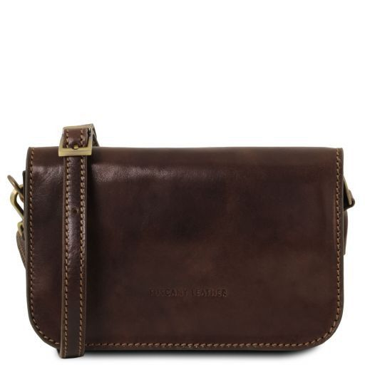 Carmen Leather shoulder bag with flap Dark Brown TL141713