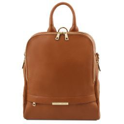 TL Bag Zaino donna in pelle morbida Cognac TL141376