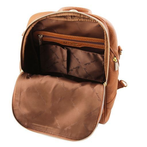 TL Bag Zaino donna in pelle morbida Cognac TL141376