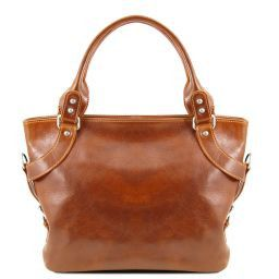Ilenia Leather shoulder bag Honey TL140899