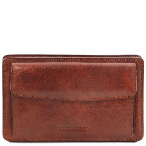 Denis Exclusive leather handy wrist bag for man Brown TL141445