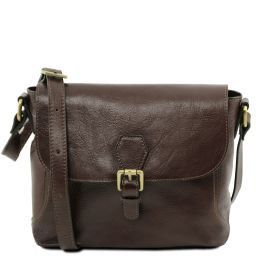 Jody Leather shoulder bag with flap Dark Brown TL141278