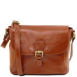 Jody Leather shoulder bag with flap Honey TL141278