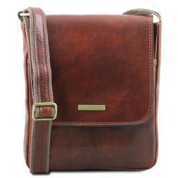 John Leather crossbody bag for men with front zip Brown TL141408