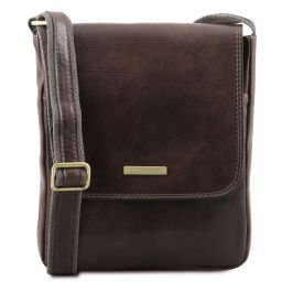 John Leather crossbody bag for men with front zip Dark Brown TL141408