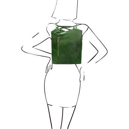 Patty Borsa donna in pelle convertibile a zaino Verde TL141497