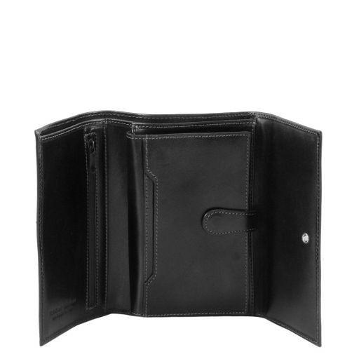 Esclusivo portafogli in pelle da donna 4 ante Nero TL140796