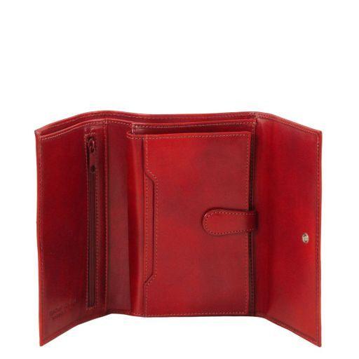 Esclusivo portafogli in pelle da donna 4 ante Rosso TL140796