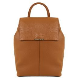 TL Bag Soft leather backpack for women Cognac TL141706